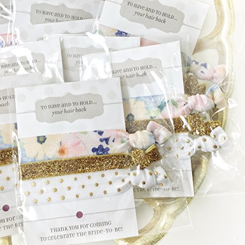 Floral Bridal Shower and Bachelorette Party Favors - Hair Ties (5 (Unique Bridal Party Gifts)