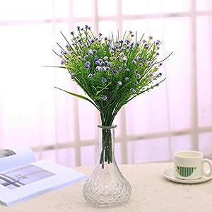 JAKY Global Artificial Flowers Babysbreath Fake Water Plants Bouquet 6 Bundle Fake Plants Wedding Bridle Bouquet Outdoor Home Office Christmas Decor (Purple) 4