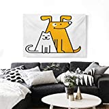 Cartoon The Picture for Home Decoration Cats and Dogs Human Best Friends Forever