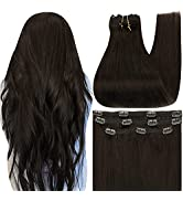 Full Shine Human Hair Clip In Hair Extensions 18 Inch Double Weft Clip In Straight Hair Color 2 D...