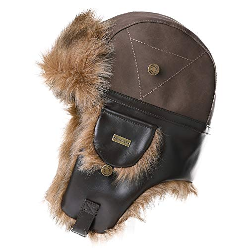 Mens Womens Waterproof Faux Fur Hunting Mad Bomber Trapper Flaps Winter Cap Ushanka Russian Hat Brown (Trappers Hat Women)