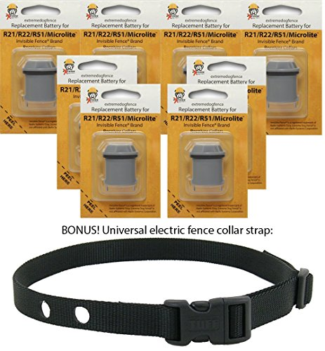 Invisible Fence Brand Collar Compatible Batteries (8 Pack) for R21 , R22 , R51 and MicroLite Collar Receivers and New Rugged Replacement Nylon Collar Strap (R51 Dog Collar Battery)