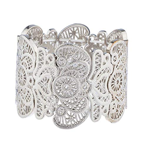 Lux Accessories Silver Tone Filigree Casted Floral Stretch Bracelet