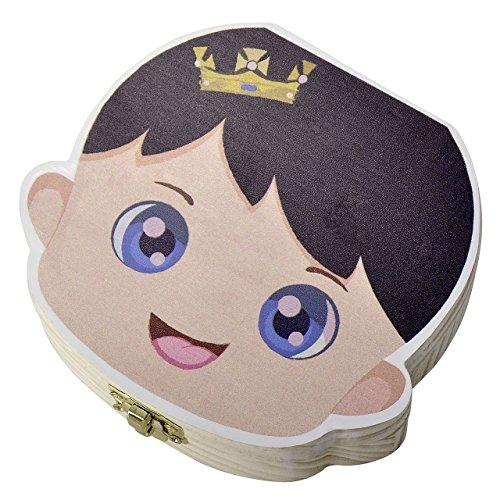 Mogoko Cute Print Baby Tooth Box, Wooden Milk Teeth Storage Case Lost Tooth Organizer for Boy (English, Prince) by Mogoko (Image #2)