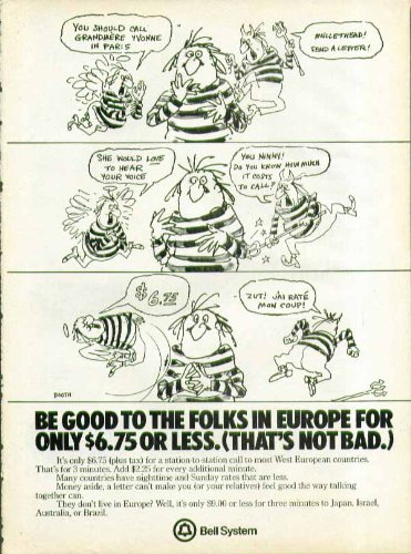 Be good to the folks in Europe for $6.75 or less Bell System ad 1978 Booth art (Bell Folk Art)