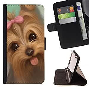 Momo Phone Case / Flip Funda de Cuero Case Cover - Lengua Yorkshire Terrier Puppy Dog Pink Bow; - Samsung Galaxy S3 MINI 8190