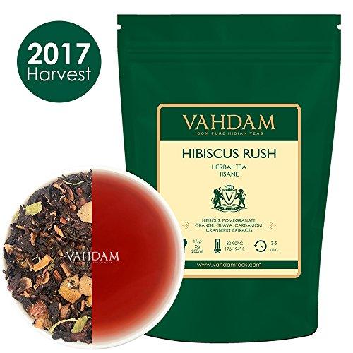 Plantation Iced Tea (Hibiscus Rush Herbal Tea Tisane (100 Cups), 100% Natural Hibiscus Tea - Blend of Hibsicus Flowers & Delicious Fruits, Herbal Tea Loose Leaf for Iced Tea, Kombucha, 7oz)