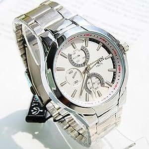 ZA Men's Round Dial Steel Band Quartz Fashion Watch (Delivery color random)