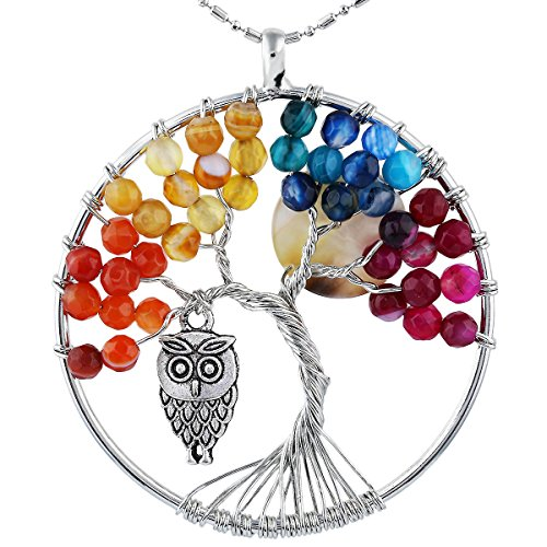 Abalone 2 Hole - SUNYIK Faceted Agate Tree of Life Necklce, Wire Wrapped Pendant Owl and Moon,Multicolor