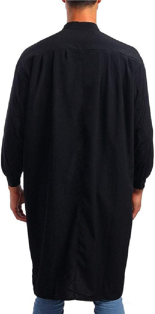 Mfasica Mens Long Sleeve Abaya Muslim T-Shirts Arab Middle East Classic Dress Shirts