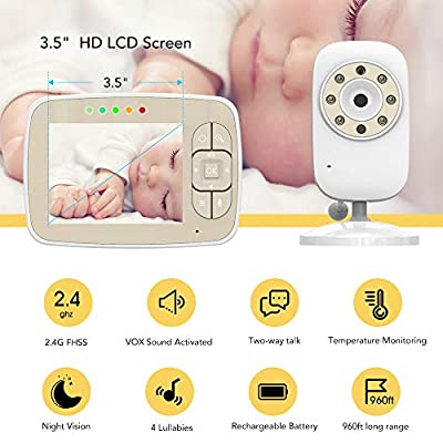 "Baby Monitor -Video Baby Monitor with 3.5"" LCD Screen, Infrared Night Vision, Two-Way Talk Back, Lullabies, Temperature Monitoring, Long Range Baby Monitors with Camera and Audio"