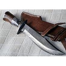 REG 49 - Handmade Damascus Steel 15.25 Inches Bowie Knife - Solid Marindi Wood/Bone Handle