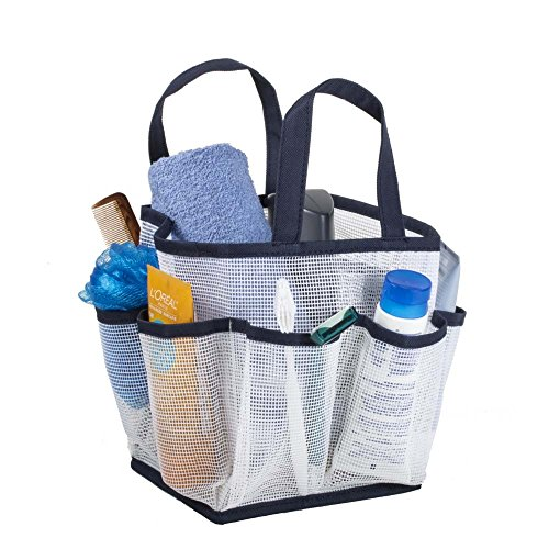 Mesh Portable Shower Tote and Caddy Ð Multiple Colors Available. Perfect For Dorm, Gym, Bath with Handles. Fast Drying, White with Navy Blue Trim