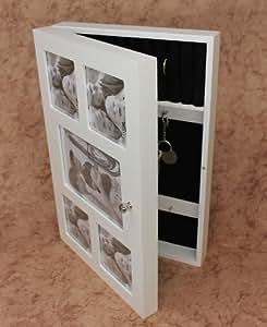 DanDiBo Ambiente 12622 - Armario para llaves con marcos para foto (madera), color blanco