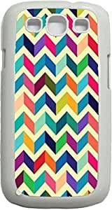 Colorful Matte Chevrons- Case for the Samsung Galaxy S3 i9300 -Soft White Rubber Case with a Swinging Open-Close Flap that Covers the screen