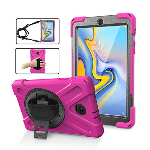 (Galaxy Tab A 8.0 T387 (2018) Case by KIQ Shockproof Heavy Duty Military Armor Hybrid Case Cover Kickstand for Samsung Galaxy Tab A 8.0 2018 SM-T387 (Hot Pink))