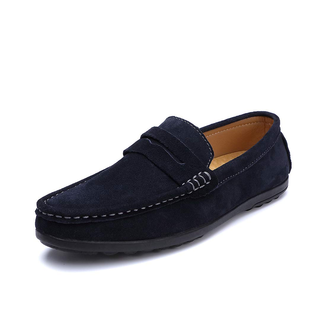 Ruiatoo Men's Penny Loafers Slip On Driving Boat Shoes Moccasins Footwear Suede Leather Flat Dress Shoes Blue 42