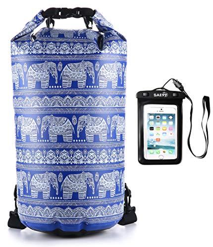 SAE99 Elephant Print Floating Waterproof Dry Bag/w Waterproof Phone Case, for Kayaking, Rafting, Boating, Swimming, Camping, Hiking, Beach, Fishing (Navy Blue/w White Print, 15L)