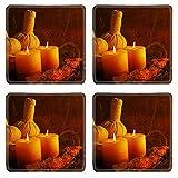MSD Square Coasters Non-Slip Natural Rubber Desk Coasters design 33908426 Composition with spa treatment on wooden