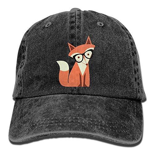 (Unisex Adjustable Denim Fabric Baseball Caps Cute Cartoon Hipster Fox Cap)