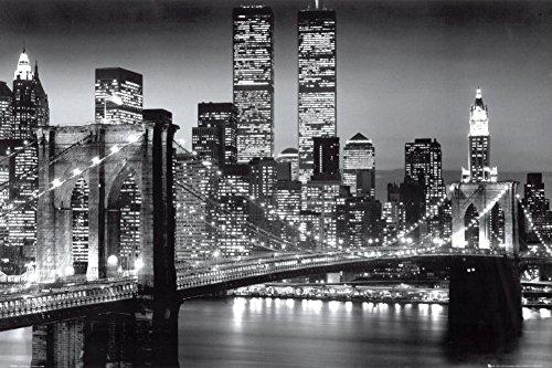 New York Skyline Poster - GB Eye Brooklyn Bridge Night Poster