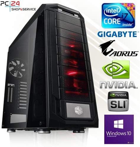 PC24 SLI Gamer PC | Intel i7-8700K @6x4,20GHz | 500GB Samsung M.2 970 | 2X nVidia GF GTX 1080 mit 8GB RAM | 32GB DDR4 PC2133 RAM | GA Z370 AORUS Ultra Gaming Mainboard | Windows 10 Pro | i7 Gaming PC