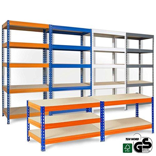 Office Marshal® Steckregal Grizzly - 4 Größen/4 Farben - 175kg Tragkraft/Boden, TÜV/GS-geprüft - kombinierbar