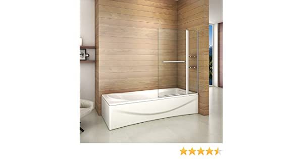 Mampara de Bañera, Biombo Abatible + 1 FIJO 100x140cm: Amazon.es ...
