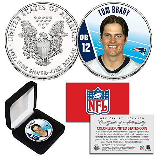 TOM BRADY QB #12 Patriots NFL Background 1 oz PURE SILVER AMERICAN EAGLE in Box