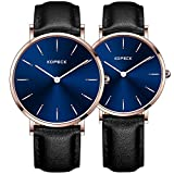 KOPECK His and Hers Ultra Thin Stainless Steel Quartz Wrist Couple Watches for Lovers (black leather)