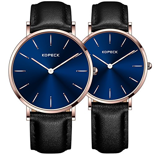 KOPECK His and Hers Ultra Thin Stainless Steel Quartz Wrist Couple Watches for Lovers (black leather) by KOPECK