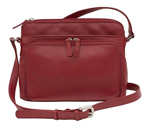 CTM Women's Leather Shoulder Bag Purse with Side Organizer, - Shoulder Organizer