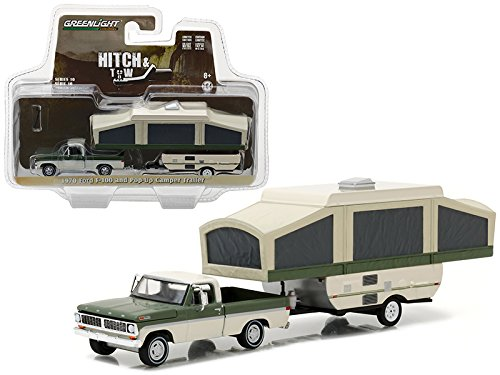 StarSun Depot 1970 Ford F-100 Pickup and Pop Up Camper Trailer Hitch & Tow Series 10 1/64 Model Car by Greenlight 1970 Ford Pickup