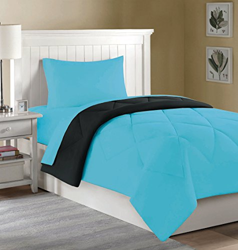 College Dorm Mini Bedding Set: Comforter, Sheets, Pillowcase - 4 PC. - Twin XL (Aqua/Black)