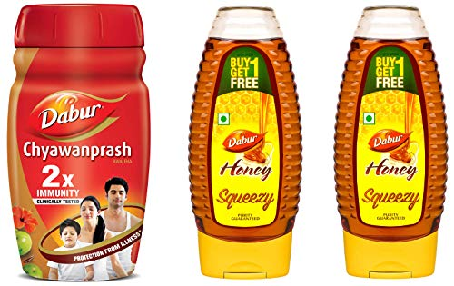 Dabur Chyawanprash – 2x Immunity -1 Kg & Honey 100% Pure World's No.1 Honey Brand with No Sugar Adulteration, Squeezy Pack – 400g (Buy 1 Get 1 Free)