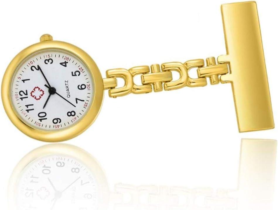 Anoauit Mini Reloj de Bolsillo de Mesa de Enfermera con Clip de Broche de Cadena Relojes de Cuarzo Regalos PR Venta-Oro