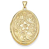 14k Yellow Gold Oval Flower Engraved Locket