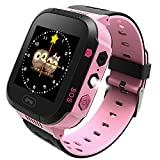 GPS Tracker Kids Smart Watch for Children Girls Boys Halloween Christmas Gifts with Camera SIM Calls Anti-lost SOS Smartwatch Bracelet for iPhone Android Smartphone (Pink)