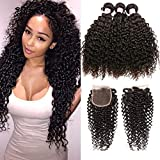 Beauty Forever Malaysian Curly Hair 3 Bundles with Lace Closure Free Part 44 Unprocessed Curly Virgin Human Hair Weave Natural Color (16 18 20 +14 Closure)
