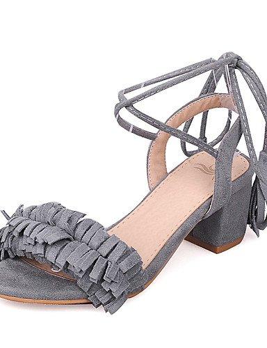 LFNLYX Zapatos de mujer-Tacón Robusto-Tacones / Punta Abierta / Tira en el Tobillo-Sandalias-Boda / Vestido / Fiesta y Noche-Semicuero-Negro / gray