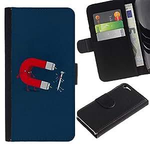 Paccase / Billetera de Cuero Caso del tirón Titular de la tarjeta Carcasa Funda para - Funny Magnet & Nail - Apple Iphone 5 / 5S