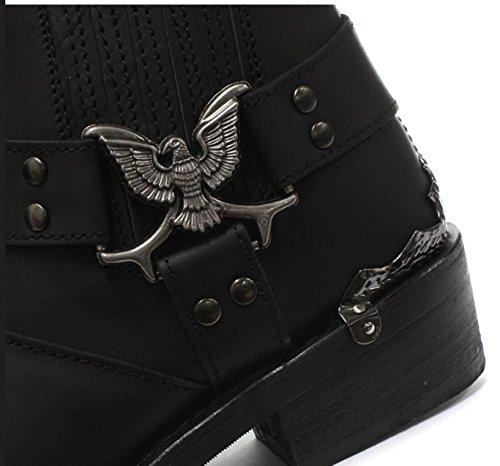 Cowboy Lo Real Classic Black Grinders Biker Boots Eagle Leather Mens Designer Look BnRpSp