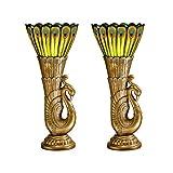 Design Toscano Art Deco Peacock Sculptural Table Lamp, 2-Pack
