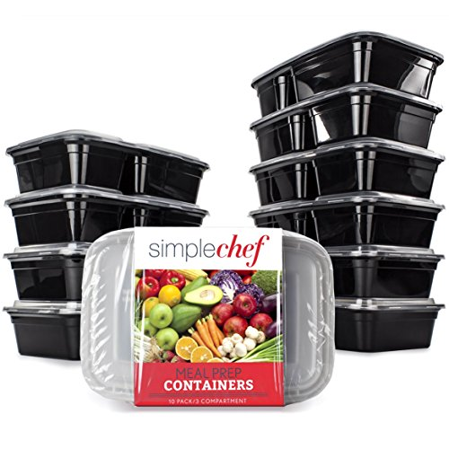 Simple Chef Meal Prep Food Containers - Set of 10 Food Storage Containers for Meal Prep - Microwave & Dishwasher Safe - Reusable & Stackable