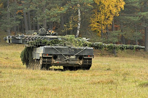 Quality Prints - Laminated 36x24 Vibrant Durable Photo Poster - German Army Leopard 2 Tank, PzBtl