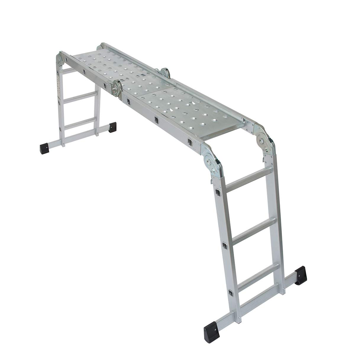 Wolf 11 in 1 Aluminium 3.37M Multi Purpose Folding Ladder with Steel Platform Trestle Inserts Use On Staircase Step Work Bench EN131
