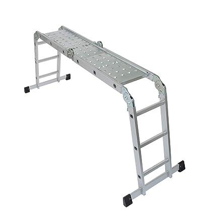 Wolf 11 In 1 Aluminium 3 37m Multi Purpose Folding Ladder With Steel