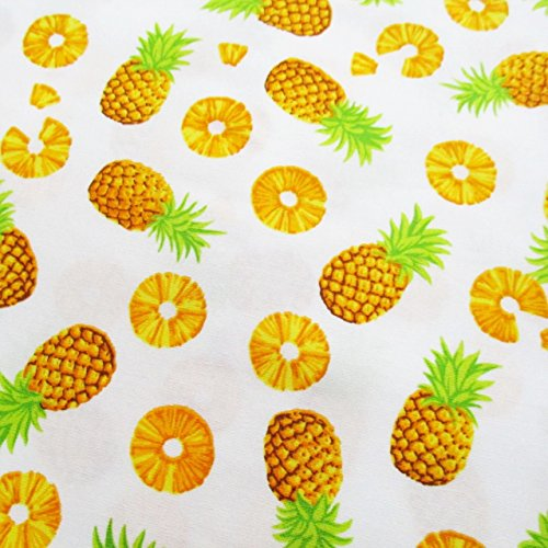 Pineapple Fruits Cotton Fabric Yellow Pineapple on White Fabric by The Yard (1 Yd) (CT646)