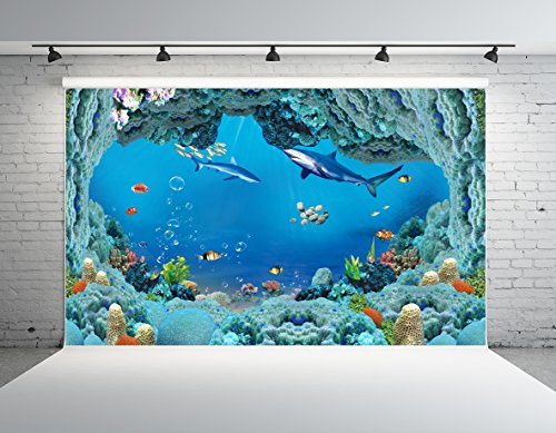 Kate 7x5ft Sea World Photography Backdrop Colorful Underwater World Coral Shark Customized Photo Studio Props