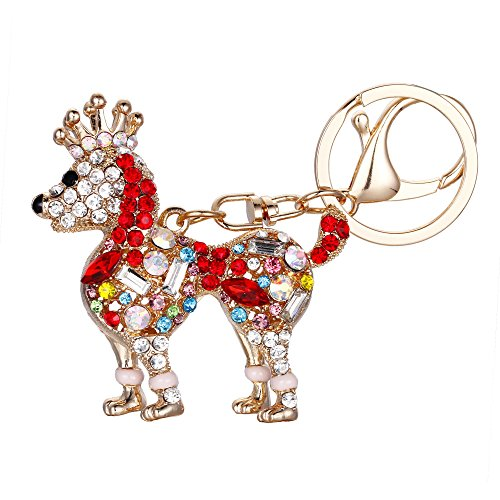 EVER FAITH Women's Austrian Crystal Poodle Puppy Dog with Royal Crown Keychain Red ()